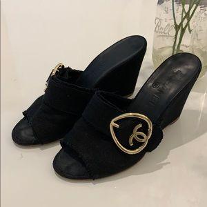 Authentic Chanel black canvas wedge heels sz 38